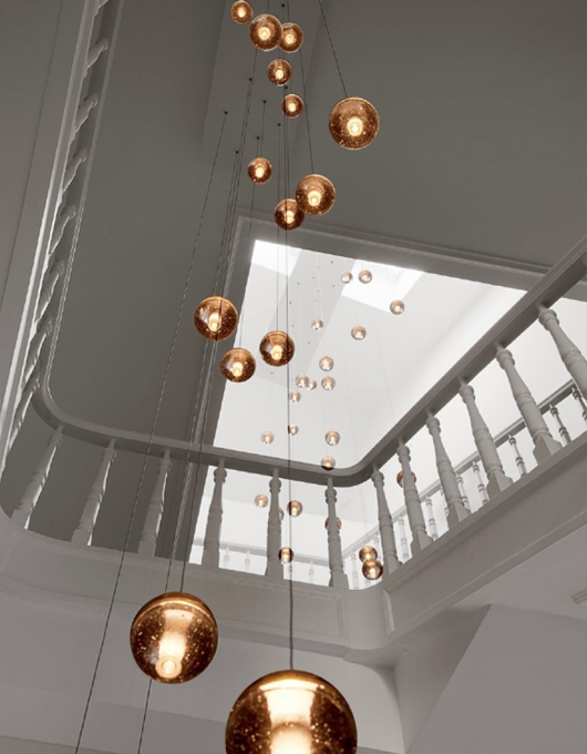 stairwell lighting. Lighting Installations For Stairwells And Tall Living Spaces. Using The Bocci Series 14 Drop Pendants, Layered At Different Heights, We Have Been Able Stairwell