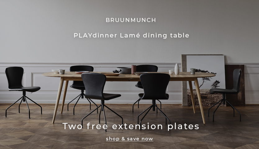 Receive two free extension plates with every PLAYdinner Lame dining table purchased in Natural oil