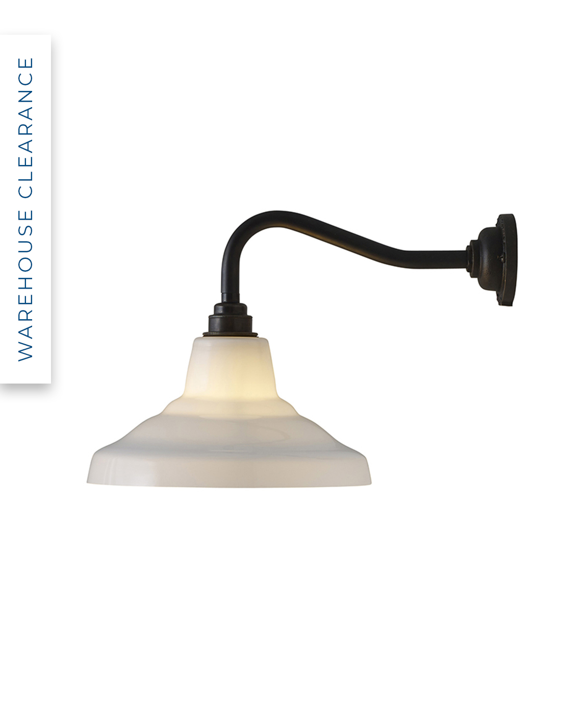 Warehouse Clearance, Glass School wall light by Davey. 45% off