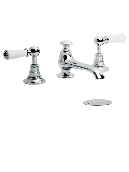 Lefroy Brooks Connaught three hole basin mixer with white levers and pop-up waste WL1224