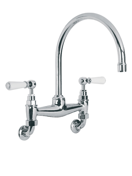 Lefroy Brooks WL1518 Classic wall mounted kitchen bridge mixer with white ceramic lever handles