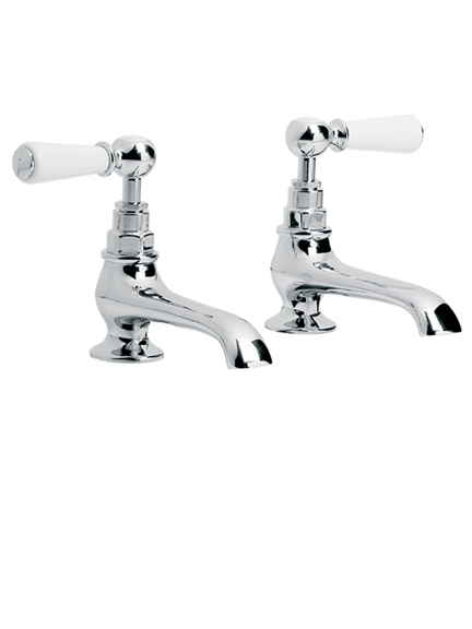 Lefroy Brooks Classic white lever basin pillar taps with long nose WL8030