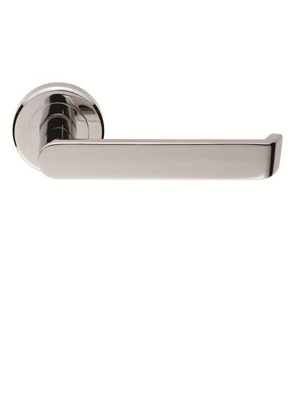 Solway door handle set on round rose
