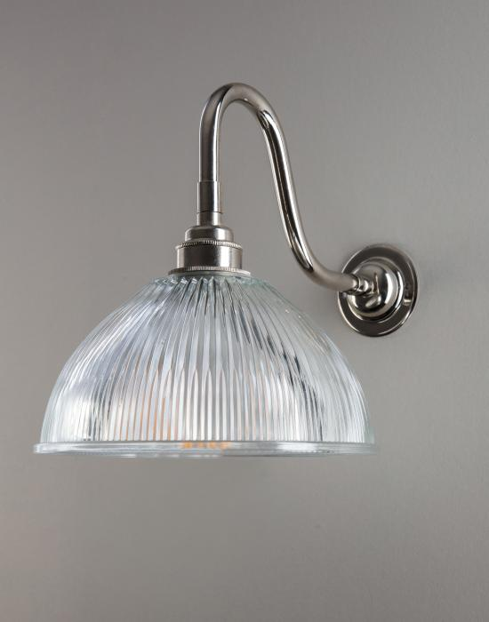 Old School Electric Prismatic Dome Swan Arm Wall Light