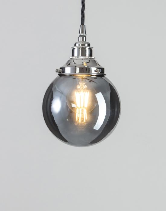 Old School Electric Globe blown glass pendant - smoked