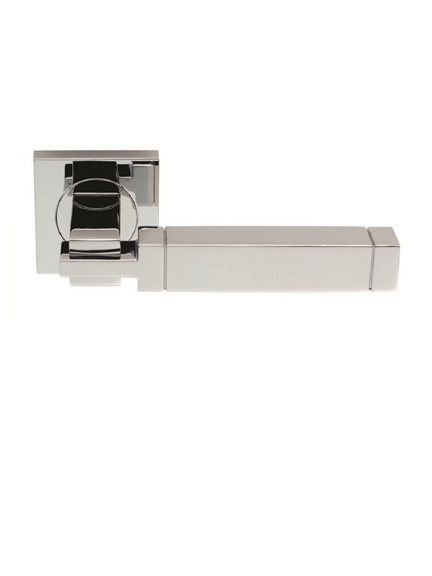 Cube door handle set on square rose