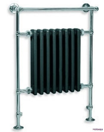 Lefroy Brooks Classic ball jointed cast-iron radiator towel warmer in black
