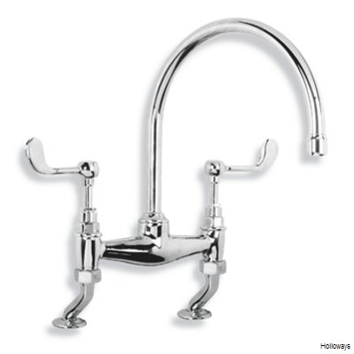 Lefroy Brooks Connaught kitchen bridge mixer tap with lever handles
