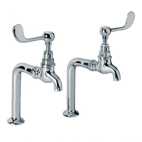 Lefroy Brooks Connaught bibcock kitchen taps with lever handles and pillars
