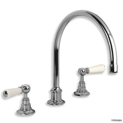 Lefroy Brooks Classic three hole kitchen mixer tap with white ceramic lever handles