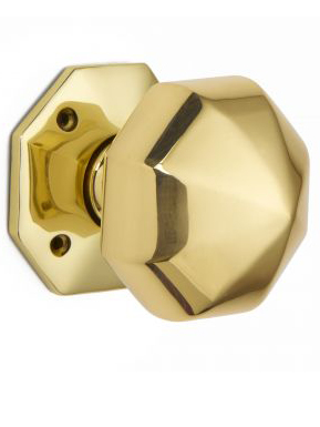 Octagonal door knob set - 64mm (mortice)