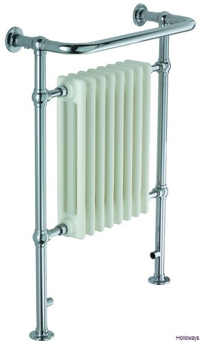 Traditional floor standing heated towel rail with radiator