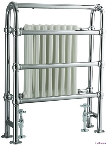 Traditional floor standing heated double towel rail with radiator