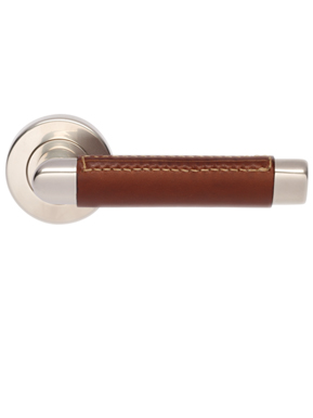 Leather oval angle door handles - external stitch