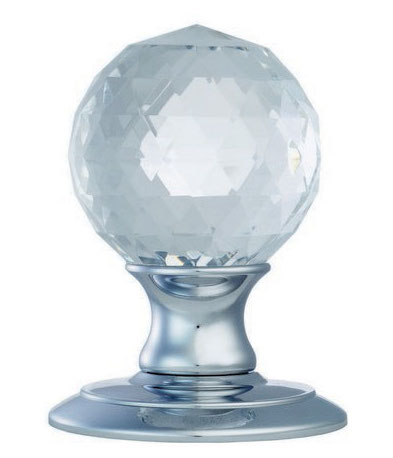 Facetted crystal door knobs