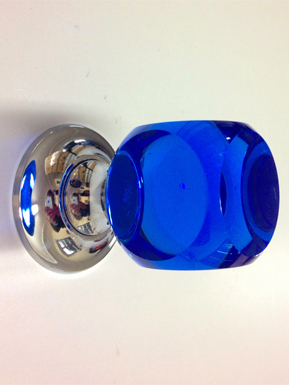 75% OFF. Pair of Blue glass cube knobs - chrome fittings