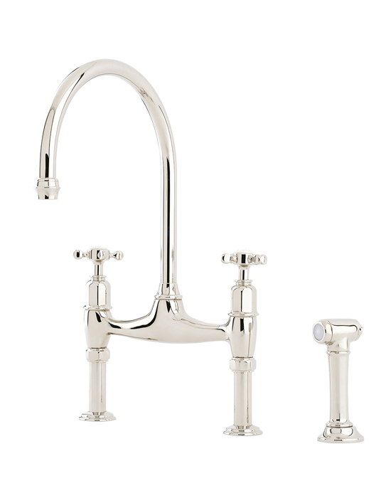 Ionian bridge mixer tap with crosshead handles and rinse