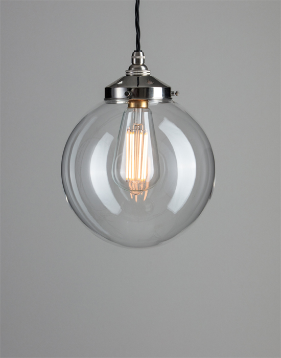 Old school electric globe blown glass pendant from £60 00