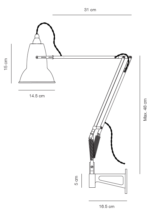 Anglepoise Original 1227 wall mounted lamp - Holloways of Ludlow