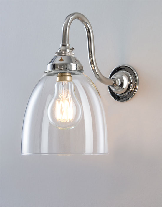 Old School Electric Glass Swan Arm Wall Light From: £145.00
