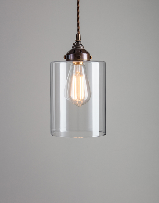 Old School Electric Cylinder blown glass pendant