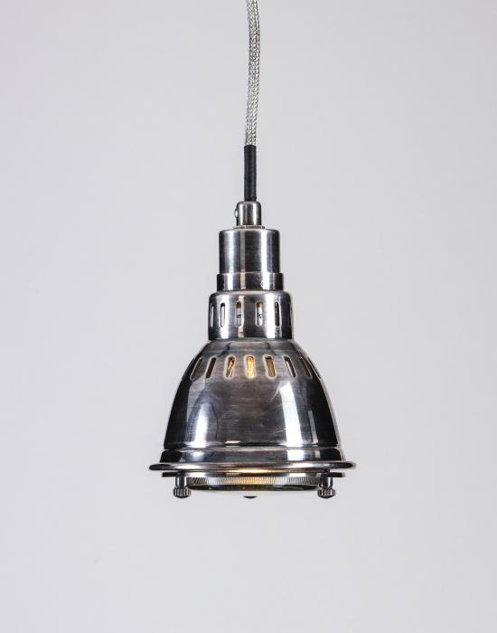 Small slotted nickel pendant with glass diffuser 50% OFF