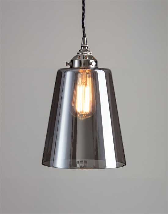 Smoked blown glass pendant from £108 75