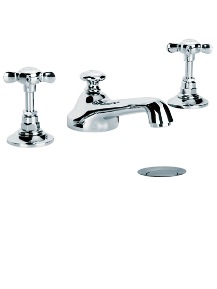 Lefroy Brooks Classic crosshead three hole basin mixer tap with pop-up waste LB1220