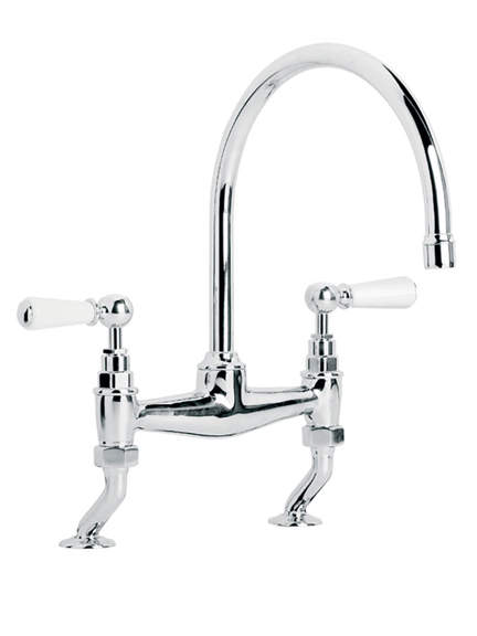 Lefroy Brooks Classic bridge mixer with white lever handles