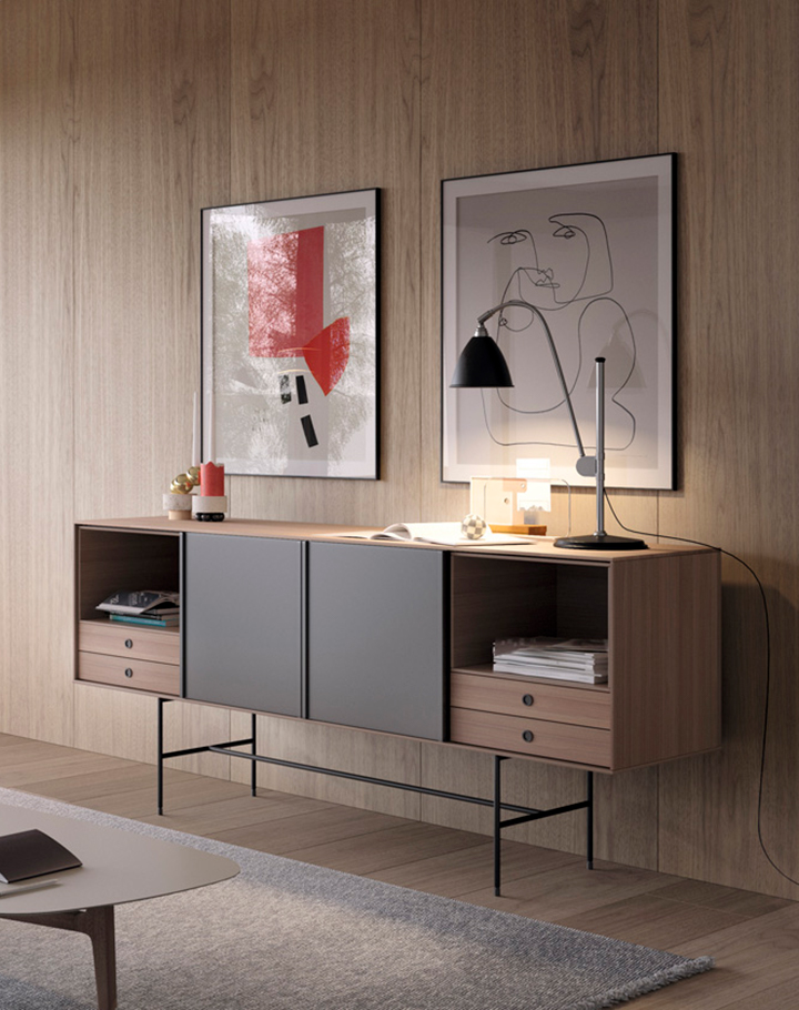 Aura sideboard with sliding doors
