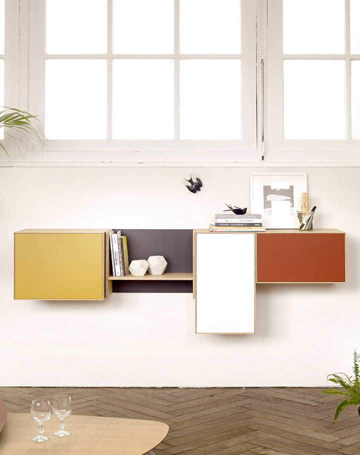 Lauki multi-coloured wall mounted unit