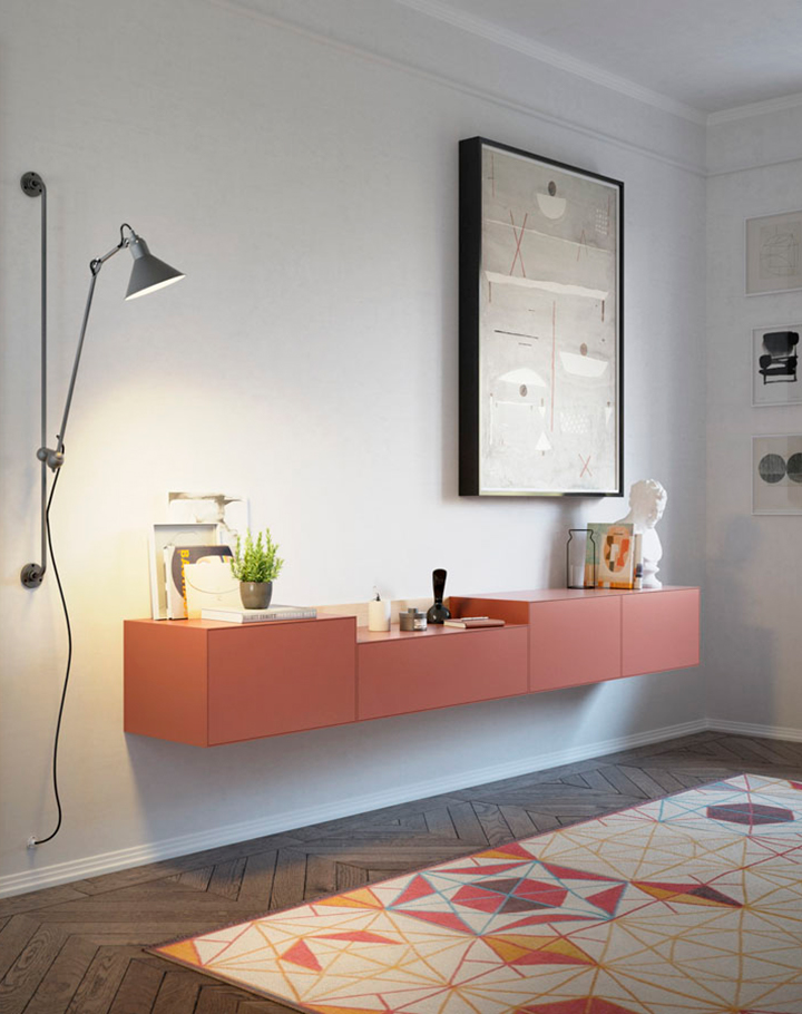 Lauki wall mounted unit in russet