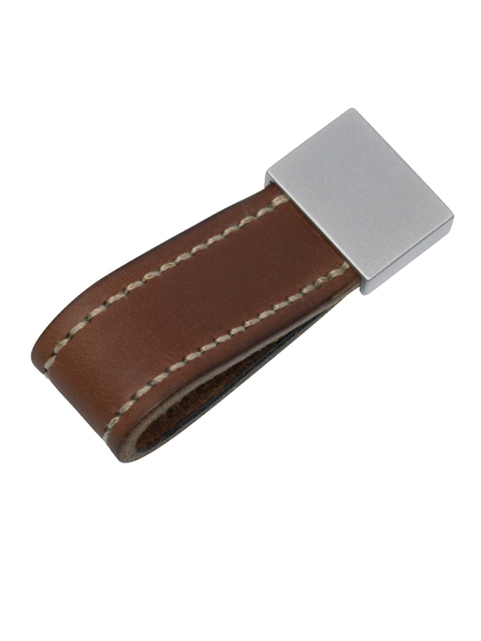 Leather stitched strap loop pull with end cap