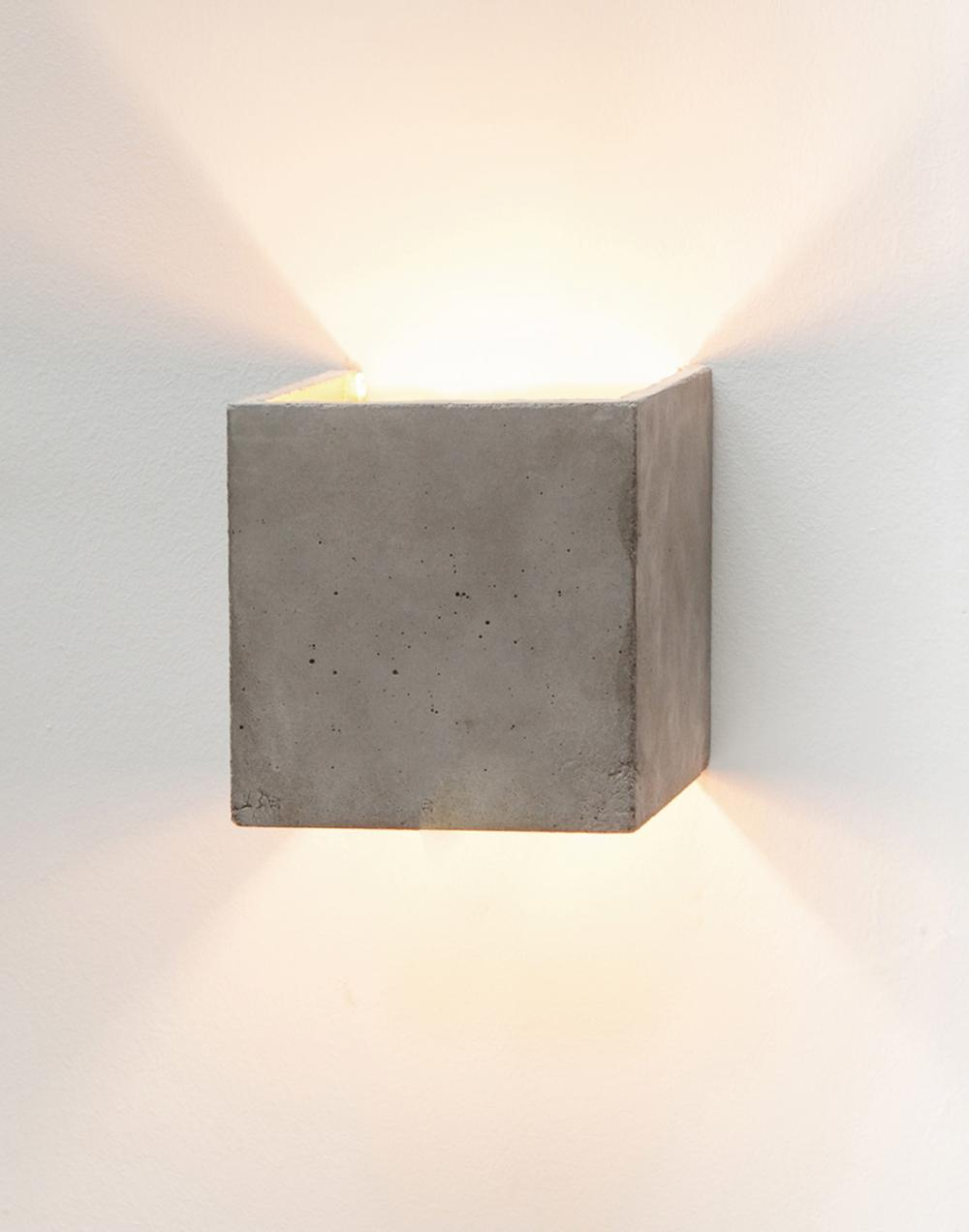Concrete Cubic up and down wall light